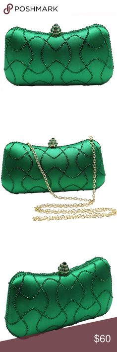 "🆕 Glamorous Green Clutch Bag Purse Brand new. 7.7"" long x 4.3"" high x 1.8"" deep. Bags Clutches & Wristlets"