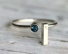 Gemstone Initial Ring-Adjustable Stacking Recycled Silver Ring W Genuine Blue Topaz Birthstone and Silver Rectangle inital Bar By PaleFishNY by palefishny on Etsy