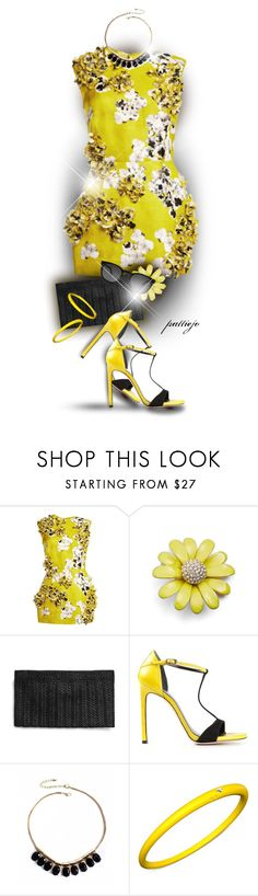 """Yellow Floral Sparkler"" by rockreborn ❤ liked on Polyvore featuring Giambattista Valli, Kate Spade, Stuart Weitzman, Mixit, DuePunti and Yves Saint Laurent"