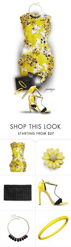"""Yellow Floral Sparkler"" by rockreborn ❤ liked on Polyvore featuring Giambattista Valli, Kate Spade, Stuart Weitzman, Mixit, DuePunti and Yves Saint Laurent"