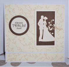 Karte zur Hochzeit mit innenliegendem Geldscheinfach (Stanzteil von Wycinanka und Stempel von Stampin up)