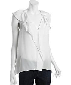 BCBGMAXAZRIAoff white silk Drea ruffle neck blouse   BLUEFLY up to 70% off designer brands