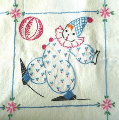 Circus Clown Embroidery by IamSusie, via Flickr