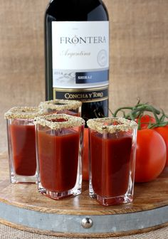 Kick up your average Bloody Mary cocktail and make my Winey Mary Shooters with Frontera Shiraz! #ad