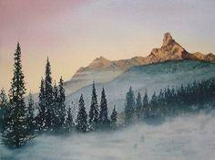 mountain landscape, watercolor lesson, watercolor mountains
