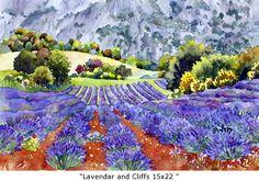 Lavender and Cliffs 15x22 Marie Gabrielle Mooi studiemateriaal hoe lavendel te schilderen