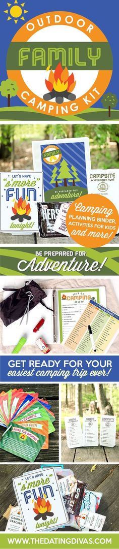 Printable Camping Organization Kit!!! This is amazing! A camping binder you can keep packing checklists, shopping list, to do list, menu, camping game ideas, etc. The S'more Kit might be my favorite part though. Well, and the scavenger hunt. Okay, okay- I love it all. ha ha ha http://www.TheDatingDivas.com