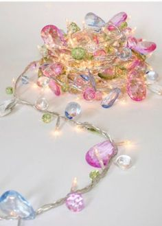 Bohemia Lights - Gorgeous warm white LED bulb string lights with pastel coloured hanging crystals to add sparkle and bling to your interiors. $17