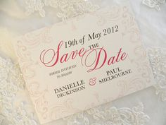 Vintage Classic Save the Date card - Pink & Gray. $2.00, via Etsy.