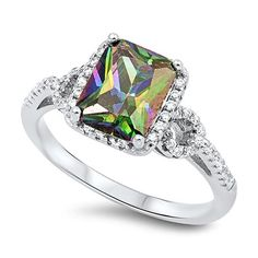 Sterling Silver Princess Cut Rainbow Multicolor Cubic Zirconia Side Stones CZ Ring  size 6 ** Continue to the product at the image link. Note: It's an affiliate link to Amazon.