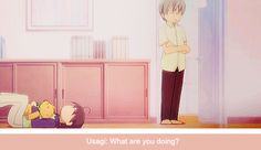 junjou romantica, when Misaki was fangirling on the floor ;-; I miss this anime a lot