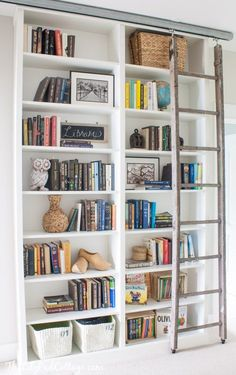 DIY Ikea Billy Bookcase Hack with sliding ladder
