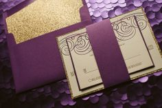 NANCY Suite Fancy Glitter Package, purple and gold wedding invitations, gold glitter wedding invitations, letterpress wedding invitations, fancy wedding invites