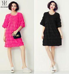 Pink Loose Pleated Dress Women Casual Mini Black Princess Dress O neck Lantern Sleeve Ruffle Large Size Plus Size Dress on Aliexpress.com   Alibaba Group