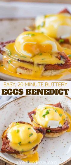 Perfectly Easy Eggs Benedict made with a foolproof vinegar free poaching method . Perfectly Easy Eggs Benedict made with a foolproof vinegar free poaching method with luxurious hollandaise sauce and ham steaks on an English muffin. Easy Eggs Benedict, Eggs Benedict Recipe, Eggs Benedict Casserole, Breakfast Dishes, Best Breakfast, Breakfast Muffins, Egg Dishes For Brunch, Breakfast Recipes With Eggs, Egg Dinner Recipes