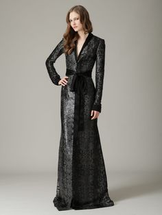 Tweed Lacquered Long Sleeve Belted Gown by L'Wren Scott at Gilt