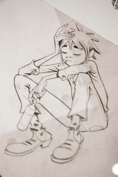 2D from Gorillaz is in thinking mood - by Jamie Hewlett …