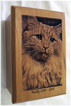 Laser engraved pet urn by http://www.halwoodworking.com/ engraved from your photo.