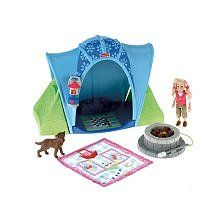 "Amazon.com: Fisher Price Loving Family Camping Tent Playset with 4 Inch Tall ""Sister"" Doll, Pet Dog, Blue Tent, ""Campfire"", ""Lantern"" and Sleeping Bag: Toys & Games"