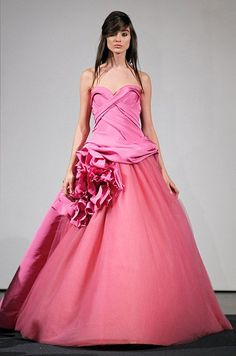 Ball Gown Wedding Dresses : Fuschia ball gown with large flower as decoration eye-catching! Vera Wang Fall