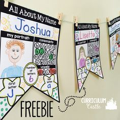 "FREE editable All About My Name banners! Perfect name activity to display during back to school and open house. day in new house, Name Activities: EDITABLE ""All About My Name"" {FREEBIE} Open House Kindergarten, Preschool Open Houses, Kindergarten Names, Beginning Of The School Year, New School Year, First Day Of School, Back To School, School Stuff, Open House Activities"