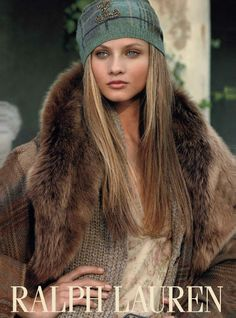 RL Fur collared coat with sweater and fabulous knit cap
