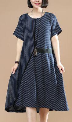 33e69e8c9f2 Women striped o neck Cotton clothes For Women Photography navy Dresses  summer