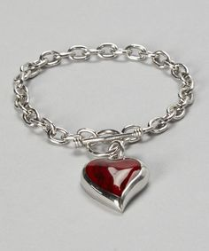 Take a look at this Red Jasper & Sterling Silver Heart Bracelet by Seraphina on #zulily today! $50 !!