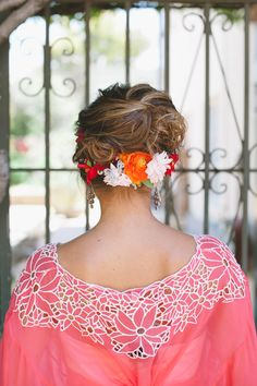 Love this reverse crown of flowers and pink silk top one the wedding dress. Styled and designed by Rebekah Carey McNall of & B Creative and shot by Barr moradi Elope Wedding, Wedding Wear, Boho Wedding, Mexican Fashion, Mexican Style, Bridal Party Dresses, Wedding Dresses, Bridesmaids And Groomsmen, Elopement Inspiration