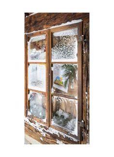 Vereistes Hüttenfenster Motivdruck Papier