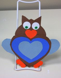 Valentine owl made all from hearts.