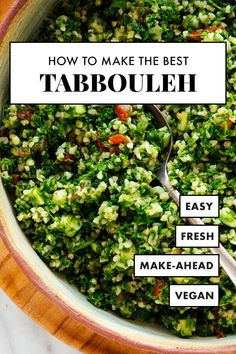 Learn how to make the BEST tabbouleh at home! This simple tabbouleh recipe calls for authentic ingredients and yields fresh and delicious tabbouleh salad. #tabbouleh #tabouli #lebanese #parsley #healthyrecipe #cookieandkate
