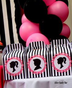 Favor boxes at a Barbie birthday party! See more party planning ideas at CatchMyParty.com!