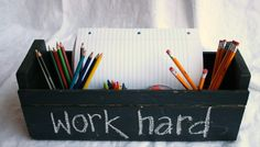 Chalkboard Homework Caddy | 7 Ways To Get Your Kids Excited For The 1st Day Of School | UrbanMoms