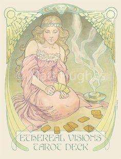 Poster for the Ethereal Visions tarot deck by Art Nouveau artist Matt Hughes.