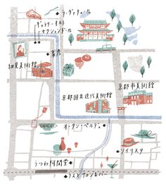 'Kyoto Map' éclat magazine by Masako Kubo Japanese Illustration, Travel Illustration, Illustration Styles, Kyoto Map, Map Design, Graphic Design, Map Projects, Information Design, Location Map