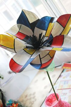 Recycled Plastic bottle Flower Piet Mondrian inspired  by zullyrs, $18.00