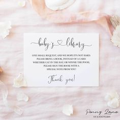 """Minimalist Baby Shower """"Books for Baby"""" Library Card Insert – Penny Lane Stationery"""