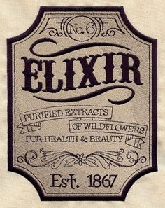 Craft a vintage apothecary with this Elixir label on bath decor! On flat fabrics, for a lighter look, try stitching only the black details without the tan background.  This design is available in a design pack.    Machine Embroidery   $7.00
