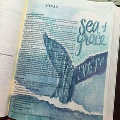 Sending a whale was an act of grace toward Jonah.in fact the whole journey at sea was by God's mercy! When I turn my back on what I should be doing, I'm grateful for more opportunities to get back on the right path. Bible Study Journal, Book Journal, Art Journals, Scripture Art, Bible Art, Bible Verses, Bible Drawing, Bible Doodling, Jonah Bible