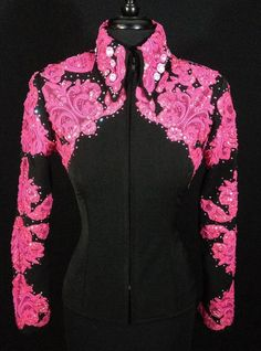 Classic Detail in Pink Lace Jacket by Sweet Magnolia ~ Ladies XS – Just Peachy Western Show Shirts, Western Show Clothes, Rodeo Shirts, Horse Show Clothes, Western Outfits, Cowgirl Western Wear, Western Riding, Rodeo Queen Clothes, Cowgirl Dresses