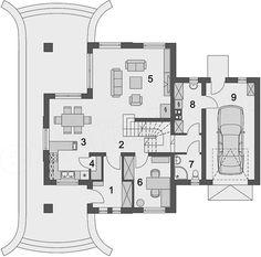 Projekt domu Solon 131,23 m2 - koszt budowy - EXTRADOM Roof Plan, Good House, House Plans, Floor Plans, Cottage, House Design, How To Plan, Architecture, Home Decor