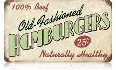Vintage-Retro Old Fashioned Hamburgers Metal-Tin Sign