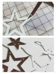 Leather Star Christmas Ornaments Would be great for our 3 year