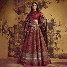 Latest Bridal Lehenga Designs by Sabyasachi - Fashion Foody Indian Bridal Outfits, Indian Bridal Lehenga, Indian Bridal Fashion, Indian Bridal Wear, Indian Dresses, Red Lehenga, Lehenga Gown, Bridal Sarees, Anarkali
