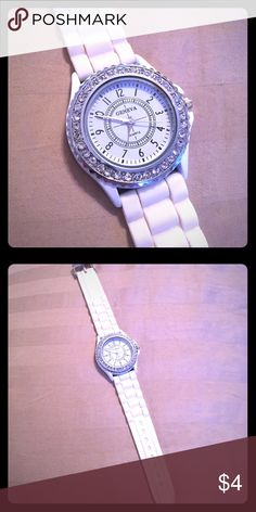 Faux rhinestone silicon watch Super cute and easy to wear. Stainless steel back. Multiple holes make it easy to adjust size. Needs new watch battery. Accessories Watches