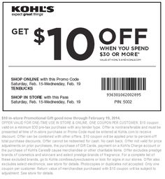 Pinned February 15th: $10 off $30 at Kohls, or online via promo code #TENBUCKS #coupon via The Coupons App