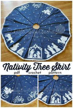 Beautiful two-color Nativity Tree skirt with a silhouette of the Nativity, worked in panels. This would make a stunning Christmas gift! Crochet for Christmas – you can make your own gifts! Here are 11 patterns to get you started! Crochet Christmas Ornaments, Christmas Crochet Patterns, Holiday Crochet, Crochet Gifts, Crochet Tree Skirt, Crochet Dresses, Crochet Vintage, Crochet Coaster Pattern, Crochet Bookmarks