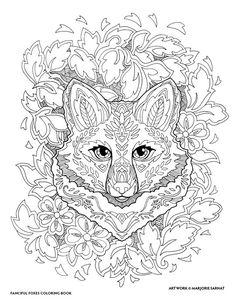 "Creative Haven Fanciful Foxes Coloring Book by Marjorie Sarnat, ""Fox Portrait """