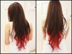 Dip dye hair in red